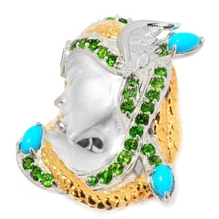 Michael Valitutti Palladium Silver Sleeping Beauty Turquoise & Multi Gemstone Medusa Ring