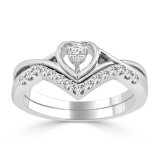 Auriya 14k Gold 1/4ct TDW Diamond Accent Heart Wedding Ring Set