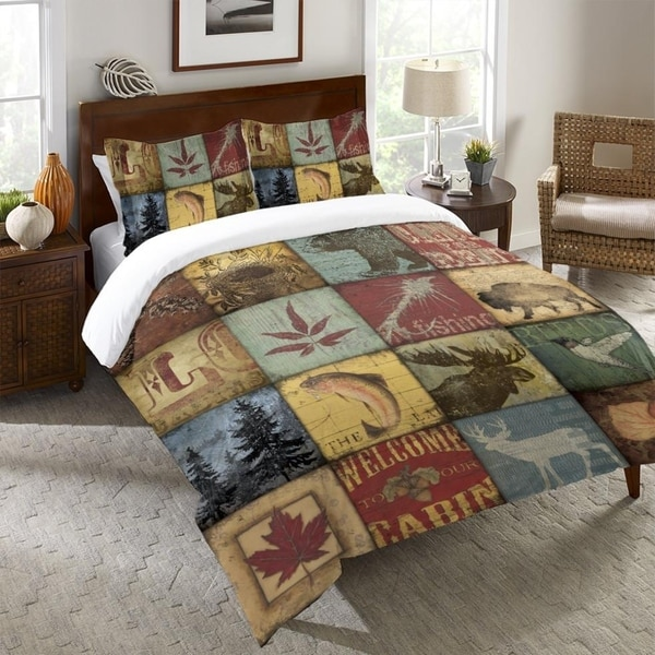 Laural Home Cabin Patchwork Queen Duvet Cover