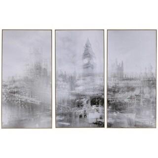 Foggy City' Gold-tone Framed 3-piece Print Set
