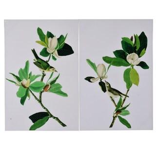 'Magnolia Blooms' 31.5-inch x 47-inch 2-piece Wall Art Set