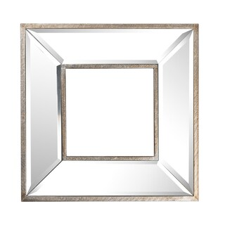 Wood/Glass 12-inch Square Wall Mirror