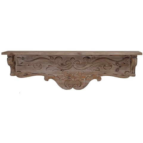 A&B Home Thayne Crafted Natural Wood Wall Shelf