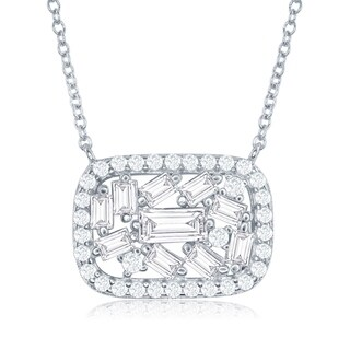 "La Preciosa Sterling Silver 16+2"" Rectangle with Center Baguettes & CZ Border Necklace