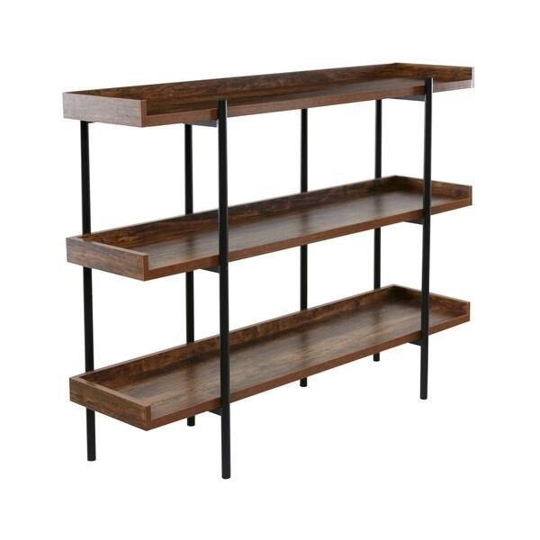 OneSpace 50-JN173SHLF Modern Wood and Steel 3 shelf display, Cherry