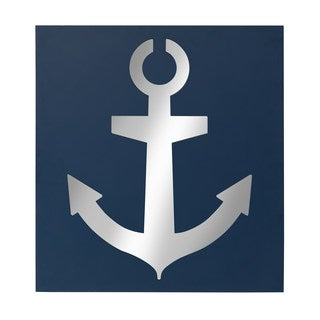 Kate and Laurel Anchor Icon Wall Accent Mirror, Navy Blue