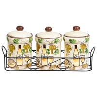 White Grape Ceramic 3 Piece Jar Set in Stand