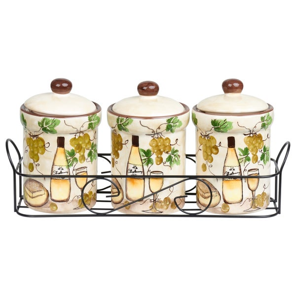 White Grape Ceramic 3 Piece Jar Set in Stand