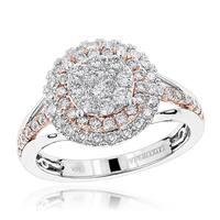 Luxurman 1 ct 14K Gold Double Halo Diamond Woman Ring