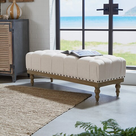 Gracewood Hollow Katiyo Fabric Tufted Bench with Antique Bronze Nailheads