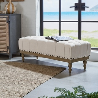 Ave Six Abigail Fabric Tufted Bench with Antique Bronze Nailheads