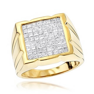 Luxurman Invisibly Set Princess Cut Diamond Ring for Men 2.33ct 14K Gold