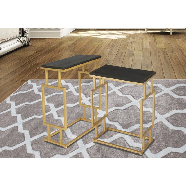 Shop Innovex Montreal Goldtone And Wood Top Accent Tables