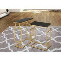 Innovex Montreal Goldtone and Wood Top Accent Tables (Set of 2)