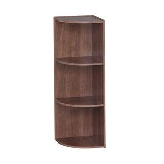 Iris Brown Wood 3-tier Corner Curved Shelf Organizer