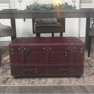 """32"""" Wide Faux Leather Trunk"""