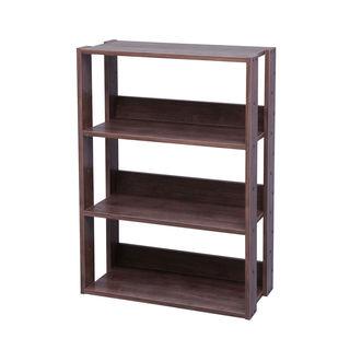 Iris Mado Light Brown Wood 3-Shelf Wide Open Shelving Unit