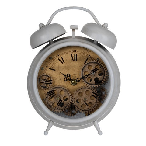Hereford Grey Iron/Plastic 7.5-inch x 3-inch x 10-inch Table Clock