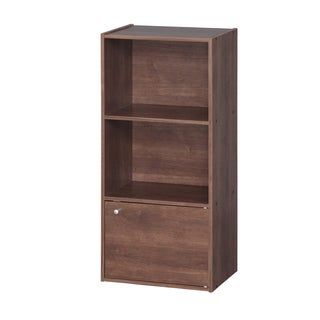 IRIS 3-tier Brown Wood Storage Shelf with Door