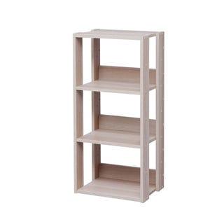 IRIS 3-shelf Light Brown Wood Storage Shelving Unit  sc 1 st  Overstock.com & Shop IRIS 3-shelf Light Brown Slim Wood Storage Shelving Unit - Free ...