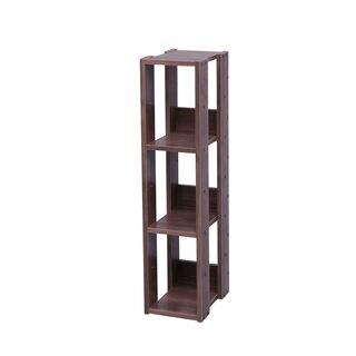 Iris Mado Brown Wood 3-shelf Slim Open Shelving Unit