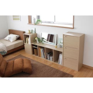 Iris Natural Wood 3-door Storage Shelf
