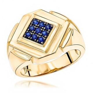Luxurman 14K Yellow Rose or White Gold Sapphire Men's Ring
