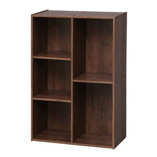 IRIS 5-compartment Brown Wood Bookcase