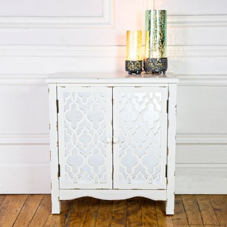 "28""H Distressed Ivory Mirrored Quatrefoil Two Door Cabinet with Shelf"