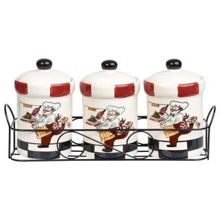Chef Ceramic 3 Piece Jar Set in Stand