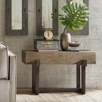 INK+IVY Timber Reclaimed Brown/ Gunmetal Console Table