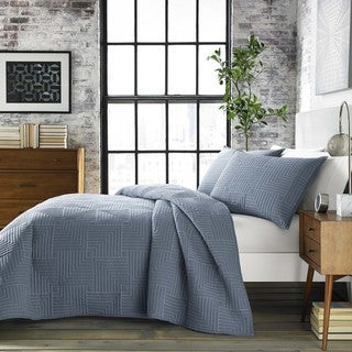 City Scene Maze Blue Quilt Set