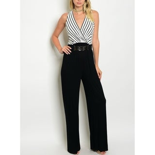 JED Women's Belted V-neck Palazzo Jumpsuit