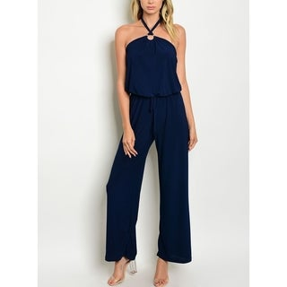 JED Women's Wide Leg Halter Palazzo Jumpsuit (Option: L)