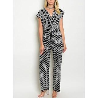 JED Women's Chain Print Elastic Waist Wide Leg Jumpsuit