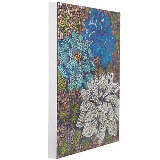 "22""H Blue Dahlias Mosaic Wall Décor"