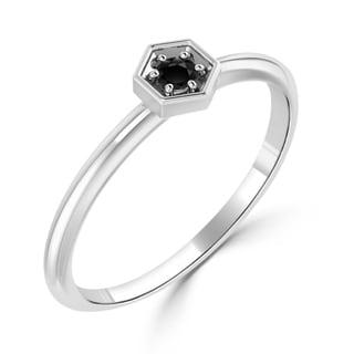 Auriya 10K Gold 1/10ct TDW Stackable Black Diamond Hexagon Ring