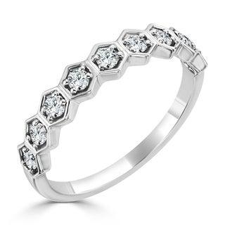 Auriya 10K Gold 1/3ct TDW Stackable Diamond Geometric Wedding Band