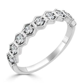 Auriya 10K Gold 1/3ct TDW Petite Ultra-Thin Geometric Diamond Stackable Ring