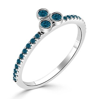 Auriya 10K Gold 1/5ct TDW Blue Diamond 3-Stone Asymmetrical Stackable Ring