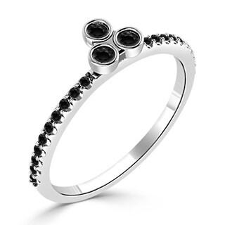 Auriya 10K Gold 1/5ct TDW Black Diamond Asymmetrical Stackable Ring