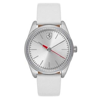 Ferrari Women's D50 Leather Silver Japanese Quartz (Battery-Powered) Watch