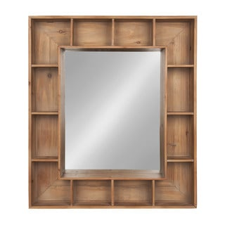 Kate and Laurel Kieren Rustic Wood Cubby Framed Wall Storage Mirror