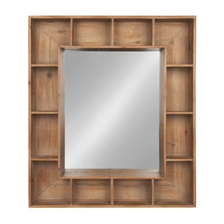 Kate and Laurel Kieren Rustic Wood Cubby Framed Wall Storage Mirror
