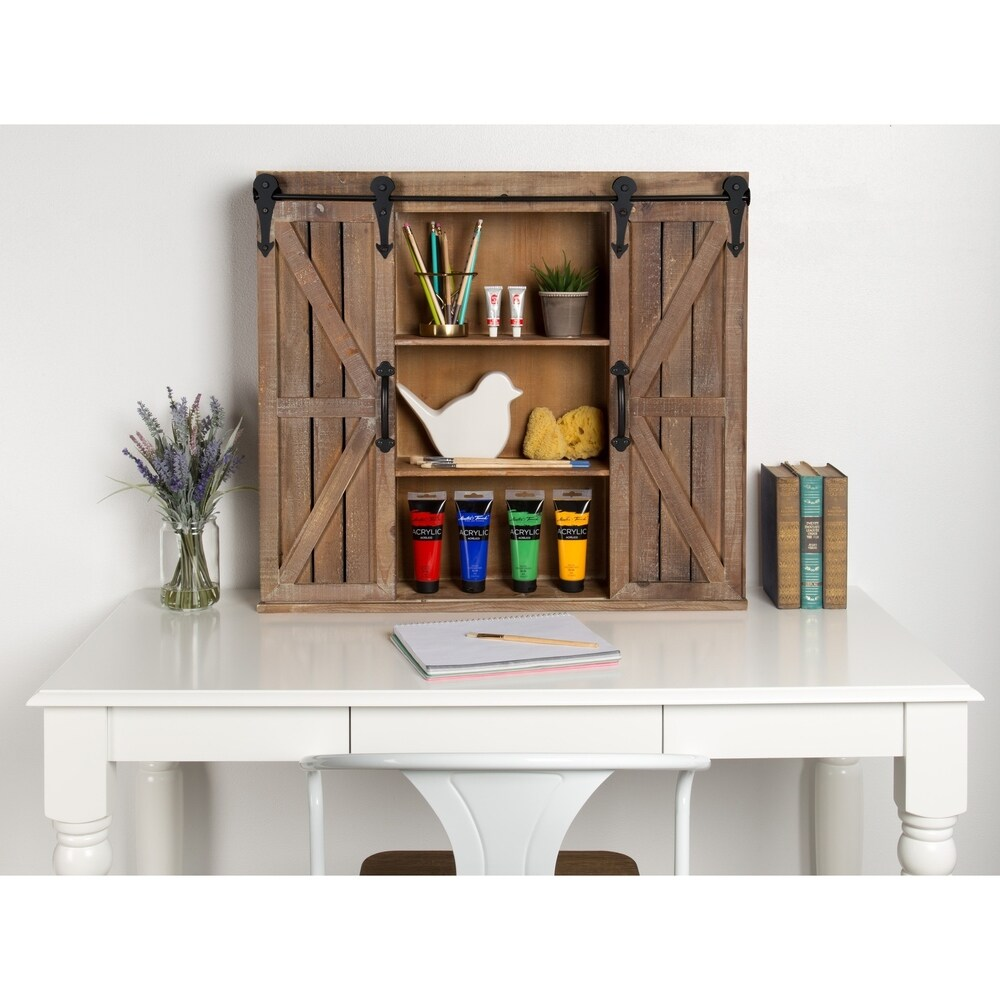 Kate And Laurel Cates Rustic Wood Decorative Cabinet With Barn Doors On Sale Overstock 16838745