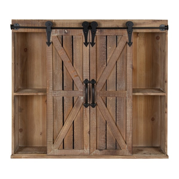 Kate and Laurel Cates Rustic Wood Wall Storage Cabinet with Sliding Barn Doors