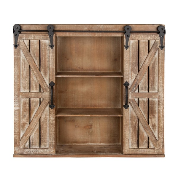 White Farmhouse Sliding Door Cabinet: Kate And Laurel Cates Rustic Wood Wall Storage Cabinet