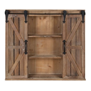 Kate and Laurel Cates Brown Wood Rustic Wall Storage Cabinet with Sliding Barn Doors