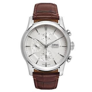 Oris Men's Artelier Leather Silver Swiss Mechanical Automatic (Self-Winding) Watch