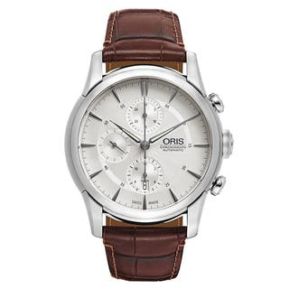 Oris Men's Artelier Leather Silver Swiss Mechanical Automatic (Self-Winding) Watch|https://ak1.ostkcdn.com/images/products/16838746/P23139022.jpg?impolicy=medium